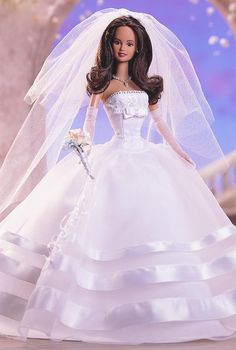 "Millennium Wedding™ Barbie® Doll. I Love bride dolls and am looking for inspiration to make a American Girl 18"" Doll wedding gown. This one is lovely."