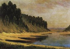 Wooded banks of the Moskva River, 1859 by Aleksey Savrasov. Realism. landscape