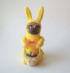Vintage Style Easter Bunny Pug figurine by BriannaBlueStudio on Etsy