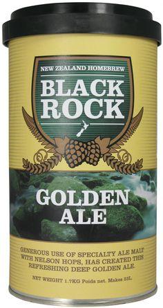 Black Rock Golden Ale - kit bere de casa pentru 23 de litri  Berarii Black Rock au folosit o doza mare de malt de tip ale si hamei Nelson pentru a produce aceasta bere de tip ale, aurie si plina de prospetime.  Ingrediente: Malt – Ale, Lager, Caramalt Hamei – Green Bullet, Pacific Jade Apa Drojdie (sub capac) Extract de malt poate fi prezent.  O cutie de 1.7 kg va produce 23 de litri de bere de buna calitate. Necesita 1 kg de zahar si apa proaspata. Drojdia este inclusa in kit.