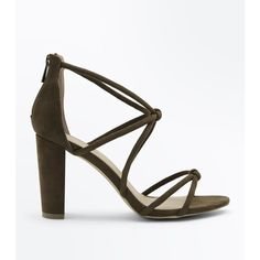 Khaki Suedette Knot Strappy Block Heels ($37) ❤ liked on Polyvore featuring shoes, khaki, strap high heel shoes, zip shoes, block heel shoes, khaki shoes and new look shoes