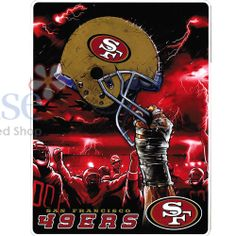 NFL San Francisco 49ers Royal Twin Plush Blanket Sky Helmet Logo Throw Game Warm