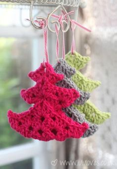 """touchecrochet: """" Christmas Tree Ornaments Made using three folded granny squares and left over cotton yarn. """""""