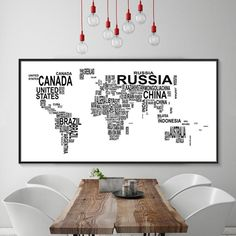 Modern World Map Canvas Painting Black White Letters Art Posters Prints Large Wall Pictures for Living Room Home Decor No Frame