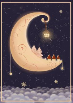 REVISIT katharinegracey/la-bella-luna/ --- Christmas card//could you see Judy doing it in cranberry and ivory? Sun Moon Stars, Sun And Stars, Vintage Christmas, Christmas Time, Christmas Cards, Merry Christmas, Yule, Moon Dance, Moon Illustration