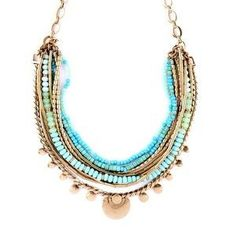Loving this Multi wear necklace- Remove the Turquoise and just wear the 5 strands of gold- remove the gold and have all turq, or layer them all up and have a bountiful beauty!