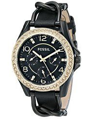 Fossil Women's ES3696 Riley Multifunction Stainless Steel and Leather Watch - Black