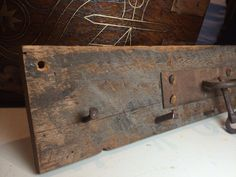 Rustic key holder with antique key feature by KeithGeppetto Antique Keys, Rustic, Antiques, Handmade, Etsy, Old Keys, Country Primitive, Antiquities, Antique