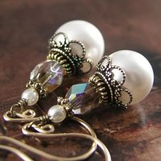 WHITE PEARLS Vintage Style Earrings Swarovski by DorotaJewelry