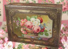 Vintage Home - Superb 1930s Basket of Roses Tin.