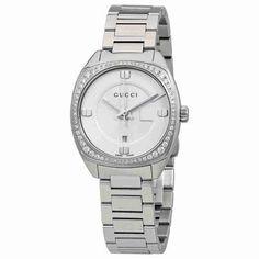 ebc2deda749 Gucci GG2570 White Dial Stainless Steel Diamond Ladies Watch YA142506
