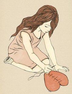 HEALING - giclee art print illustration poster ( mending a broken heart ) ink drawing by Shira Sela via Etsy