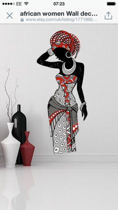 Using Art and Crafts in African Decor African Wall Art, African Art Paintings, Wall Painting Decor, Fabric Painting, Black Girl Art, Black Women Art, Art Mural Africain, Afrique Art, Art Tribal