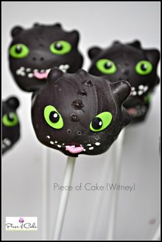 Toothless (How to train a dragon) cake pops. Super cute - no chance I can make these though