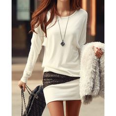 $11.09 Long Sleeve Simple Style Scoop Neck Sequin Embellished Packet Buttock Cotton Blend Women's Dress