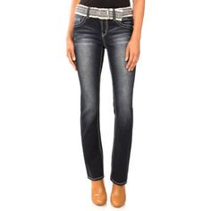 No Boundaries Juniors' Belted Curvy Bootcut Jeans, Size: 9