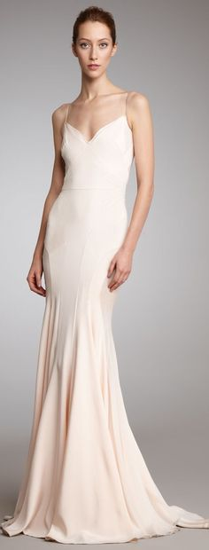 ZAC POSEN Pink Slip Gown - would make a Stunning wedding dress in white , ivory or this blush pink .