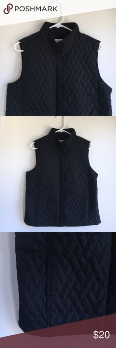 "Black Button Vest This is a gorgeous Croft and Barrow black quilted button up vest. There are two roomy hand pockets in front and beautiful detail in the back. Shell, lining, and filling are all 100% polyester. Machine wash and dry. Size Large and runs true to size. Made in China.   Waist measures 21"" across. Length down the back is 26.5"". Great condition from smoke free home. croft & barrow Jackets & Coats Vests"