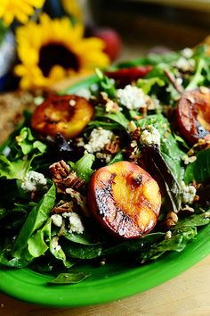 Grilled Peaches and Pecans - with blue cheese in salad! by Ree Drummond / The Pioneer Woman, via Flickr