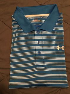 Men's UNDER ARMOUR Heat Gear Golf Shirt - Blue/White Striped - Size XL…
