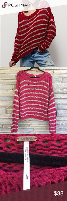 Free People Over Easy Pullover NWT. Free People Over Easy Pullover in Ruby Combo. Super Comfy Loose Knit Sweater with Dolman Sleeves and a Cropped Slouchy Silhouette. Size L Free People Sweaters