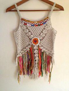 Handmade crochet boho top decorate with vintage от SpellMaya Top Crop Tejido En Crochet, Débardeurs Au Crochet, Pull Crochet, Crochet Shirt, Crochet Woman, Love Crochet, Crochet Bikini, Boho Tops, Top Boho