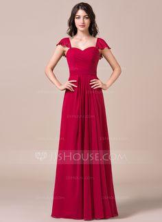 Vestidos princesa/ Formato A Coração Longos De chiffon Vestido de madrinha com Babados em cascata (007057717) - JJsHouse