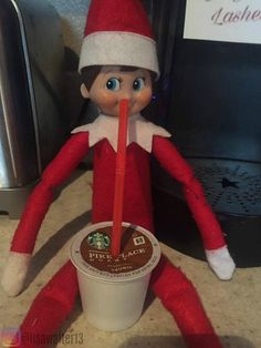 Elf on the Shelf ideas Coffee Refueling station.  Elf Refueling Station!!! Need coffee to get through Hump Day!! ☕️️ December 14, 2016 ☕️️ ☕️️ #elfontheshelf #elf #refueling #humpday #elfontheshelf2016 #dayfourteen #elfontheshelfideas #elfideas #jingleelf #lasheself #jingle #lashes #christmasfun