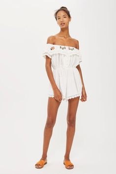 855f2d33fb3 PETITE Embroidered Broderie Playsuit Going Out Playsuits