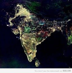 On this image we can see a satellite photo of India during Diwali
