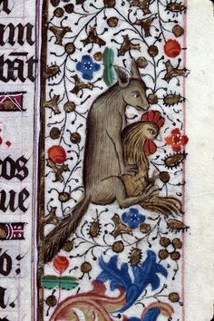 fox loves cock Hours, France 15th century. Clermont-Ferrand, BM, ms. 84, fol. 58r