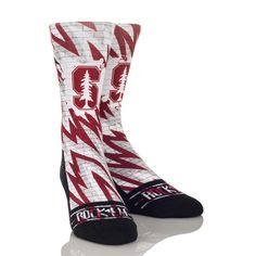 Cheer on Stanfordin these static brick Graphic Rock 'Em Socks. S/M - USA Shoe size - L/XL - USA Shoe size - Polyester Cotton Nat Latex Spandex Football Field, College Football, Basketball Socks, Basketball Court, Stanford Cardinal, Usa Shoes, Athletic Socks, Crew Socks, Mens Fitness