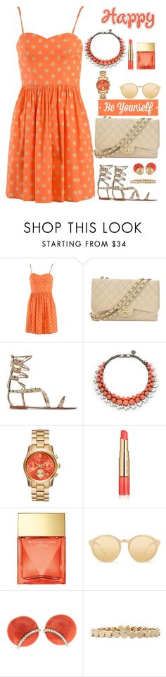 """HAPPY ORANGE"" by licethfashion ❤ liked on Polyvore featuring Jeremy Scott, Chanel, Valentino, Ellen Conde, Estée Lauder, Michael Kors, Linda Farrow, Valentin Magro, Eddie Borgo and J.W. Anderson"