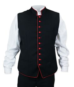 You might find gentlemen milling about the royal quadrangle buttoned up in our Buckingham Vest. Black with bright red accents, this bold layer stylishly announces 'the British are coming'.The front features two welt pockets: one at the waist and one at the breast, plenty of room to stow away necessities. The back is made of the same fine fabric and the interior is completely lined. The back is tailored to fit the gentleman's physique, no belt adjuster attached.  Other era-specific details…