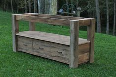 "Rustic Vanity - Reclaimed Barn Wood - Farmhouse Style  735.00 Dimensions: 21"" Deep x 66"" Long x 32"" High  3 Drawers"