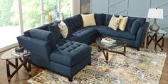 Cindy Crawford Home Metropolis Way Sapphire Microfiber 3 Pc Sectional - Rooms To Go Blue Living Room Sets, Sectional Living Room Sets, Rooms To Go Furniture, Furniture Sets, Cindy Crawford Home, Living Room Remodel, Affordable Furniture, Family Room, Home Decor