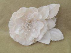 Bridal Velvet Cream Blush rose with leaves hair clip, hair accessorie, bridal fascinator by LavenderRoseAcc, custom orders welcome