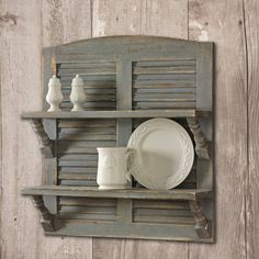Aged Gray Double Shutter Shelf