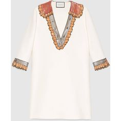 Gucci Silk Cotton Embroidered Dress ($2,680) ❤ liked on Polyvore featuring dresses, multi colored sequin dress, gucci dress, white silk dress, silk dress and button dress
