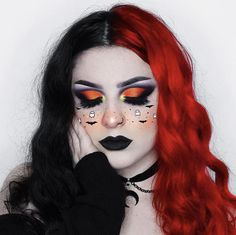 Totally here for an early little sprinkle of Halloween spirit! looking fab in this cute makeup look + our True Lust Split Pack Halloween Eyeshadow, Cute Halloween Makeup, Halloween Face, Halloween Zombie, Edgy Makeup, Crazy Makeup, Makeup Eyes, Eyebrow Makeup, Cute Makeup Looks