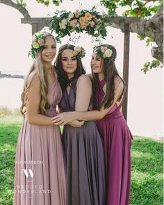 Total for this gorgeous boho look. Editorial featuring our #goddessbynature signature ballgowns in these stunning tonal colours. #whiterunway #bridesmaids #bridalparty #wedding #aisleperfect #bridesmaidsfashion #weddingsonpointe #whiterunway #boho #bohemian #engagement #wedding #bridesmaid #whiterunway #realrunway #wedding #weddingfashion