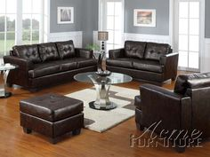 Add elegance and class to your living room with this contemporary bonded leather couch in a classic brown color that matches any decor. This sofa set is made of solid wood and plywood, and features bonded leather and sturdy wooden legs. Leather Living Room Set, Living Room Grey, Living Room Sets, Brown Leather Furniture, Leather Sofa Set, Leather Loveseat, Leather Ottoman, Acme Furniture, Furniture Shopping