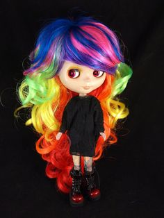 Rainbow Color  Curly Wig for Blythe and American by SparklyMarket