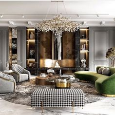 Stunning luxury glamour living room decor with green velvet curved sofa and crystal chandelier - chic decor living room Glamour Living Room, Interior Design Living Room, Living Room Designs, Living Room On A Budget, Luxury Interior Design, Luxury Home Decor, Interior Ideas, Interior Styling, Home Room Design