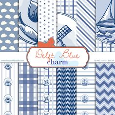 Printable Delft Blue themed digital paper pack, instant downloadable scrapbooking backgrounds and patterns door LoopandDoodle op Etsy