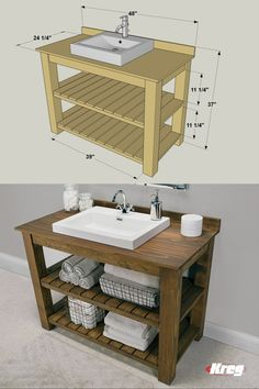 Diy Bathroom Vanity, Rustic Bathroom Vanities, Rustic Bathrooms, Wood Bathroom, Laundry In Bathroom, Bathroom Furniture, Bathroom Interior, Diy Furniture, Vanity Sink