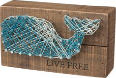 Live Free -Whale String Art Plank Board Box Sign - 6-in