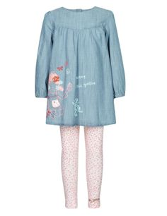 Buy the 2 Piece Cotton Rich Emily Button™ Dress & Leggings Outfit from Marks and Spencer's range. Nike Store, Button Dress, Dresses With Leggings, Buttons, Blouse, Clothes, Outfits, Beautiful, Party