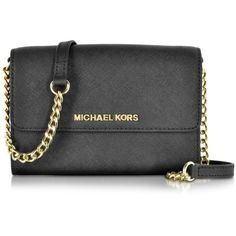 Michael Kors Jet Set Travel Large Phone Crossbody ($210) ❤ liked on Polyvore featuring bags, handbags, shoulder bags, purses, leather crossbody purse, cross body travel purse, leather handbags, leather shoulder handbags and leather purse