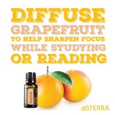 Diffuse grapefruit essential oil to help sharpen focus when studying or reading. Try DoTerra grapefruit essential oil. www.hayleyhobson.com Hayley Hobson Essential Oils